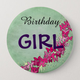 Pink Butterfly Princess Birthday Girl Button