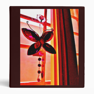 Pink Butterfly Prism 3 Ring Binders
