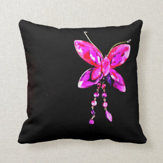 Pink Butterfly Prism Throw Pillow
