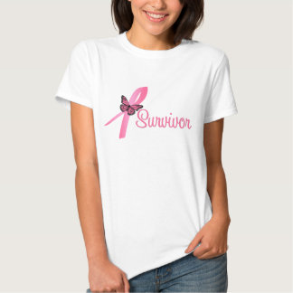 Pink Butterfly Ribbon - Breast Cancer Survivor Tshirt