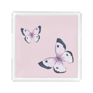 Pink Butterfly Square Tray