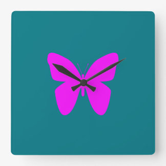 Pink Butterfly Square Wall Clock