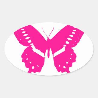 Pink Butterfly Oval Sticker