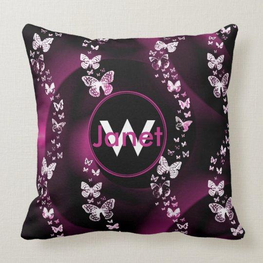 Pink Butterfly Swirl Monogram Pillow