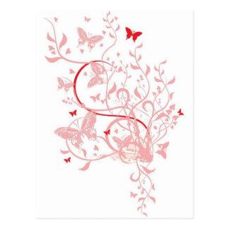 Pink Butterfly Swirls Postcard
