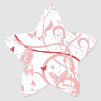 Pink Butterfly Swirls Star Sticker
