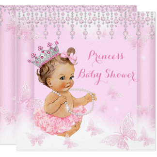 Pink Butterfly Tiara Princess Baby Shower Brunette Card