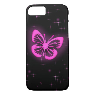 Pink butterfly with sparkles iPhone 7 case