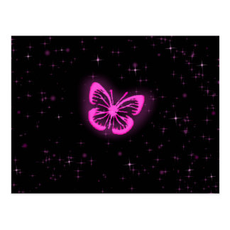 Pink butterfly with sparkles postcard