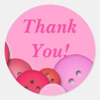 Pink Button Thank You Round Sticker