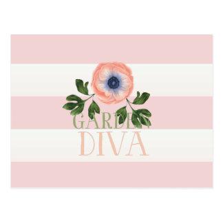 Pink Cabana Striped Garden Diva Postcard