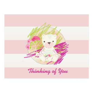 Pink Cabana Striped Scribble Teddy Bear Postcard