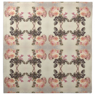 Pink Cabbage Rose Flowers Bees Cloth Napkins