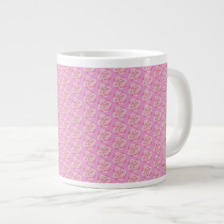 Pink Cabbage Rose Large Coffee Mug