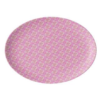 Pink Cabbage Rose Porcelain Serving Platter