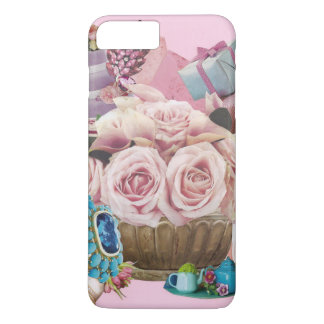 Pink Cabbage Roses with Turquoise iPhone 7 Plus Case