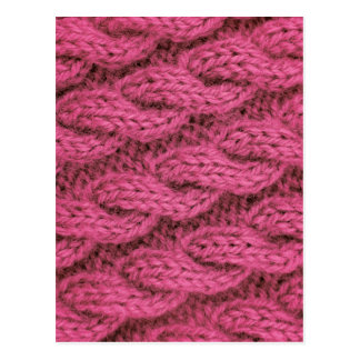Pink cable knitting postcard
