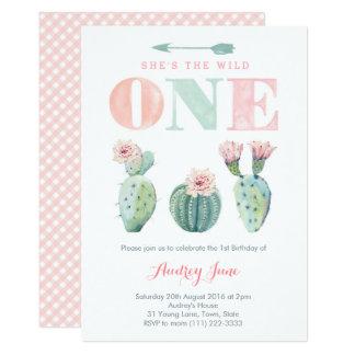 Pink Cacti Girl 1st Birthday invitations, Desert Card