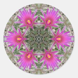 Pink Cactus Flower Round Sticker