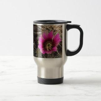 Pink cactus flower travel mug