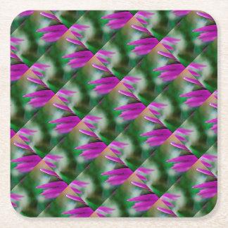 Pink Cactus Petals Square Paper Coaster