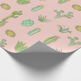 Pink Cactus Print Wrapping Paper