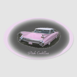 Pink Cadillac Flash Oval Sticker