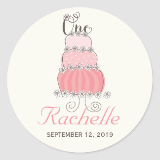Pink Cake Baby Girl 1st Birthday Party Gift Tag Round Sticker