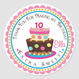 Pink Cake Birthday Party Favor Tags Round Sticker
