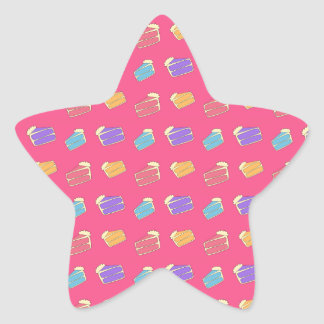 Pink cake pattern star sticker