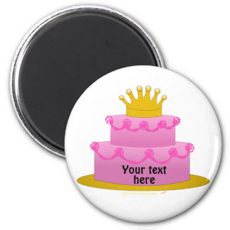 Pink Cake With Crown Birthday 2 Inch Round Magnet