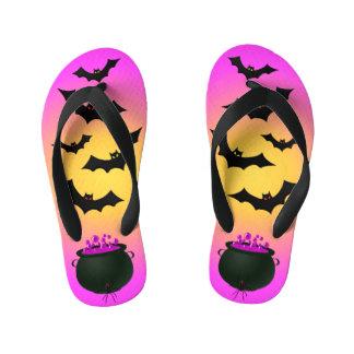 Pink Caldron and Bats Kid's Flip Flops