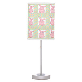 Pink Calico Bunny  Pink Yellow Green Checkerboard Table Lamp