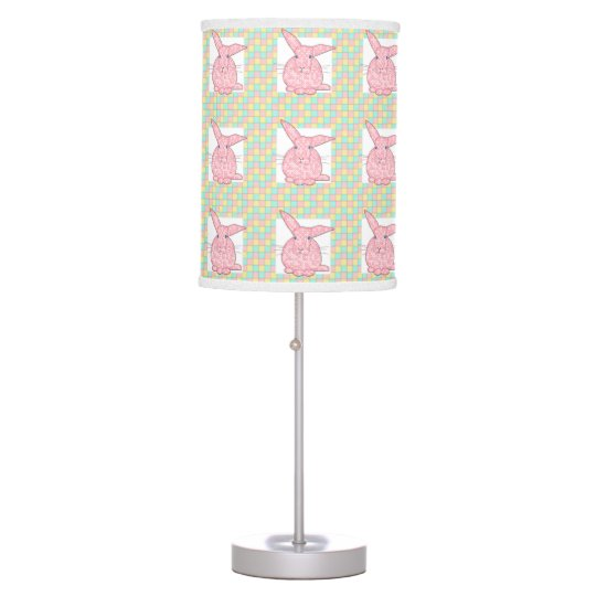 Pink Calico Bunny  Pink Yellow Green Chequerboard Table Lamp