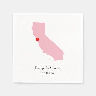 Pink California Personalized Wedding Anniversary Paper Napkin