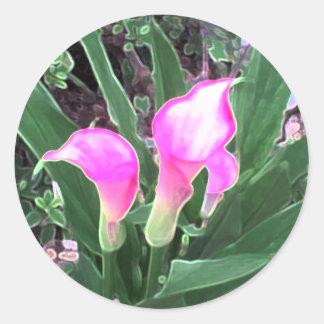 Pink Calla Lilies Round Sticker