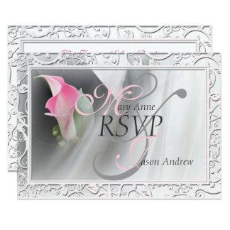 Pink Calla Lily Flourish Frame Wedding RSVP Card