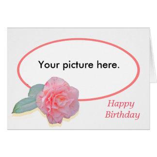 Pink Camellia, custom frame, Happy Birthday. Card