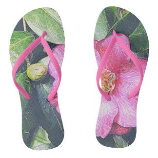 Pink Camellia Flip-flops Flip Flops