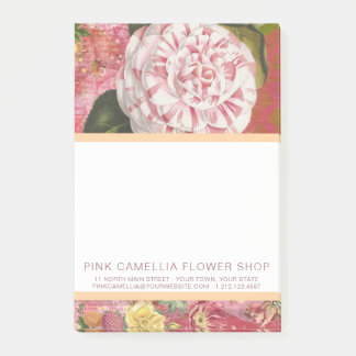 Pink Camellia Flower Shop or Florist Vintage Post-it Notes