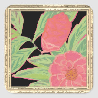 Pink Camellia Flower Square Sticker