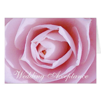 Pink Camellia Wedding Acceptance Card