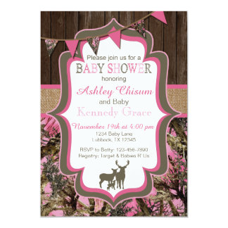 Pink Camo Baby Shower Invitation