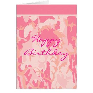 Pink Camo Birthday Card