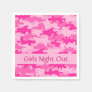 Pink Camo Camouflage Girls Night Out Party Paper Napkins