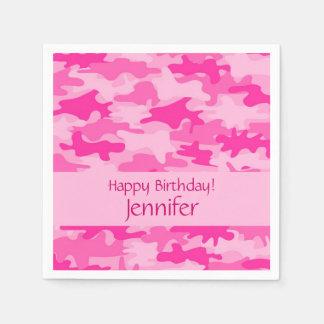 Pink Camo Camouflage Happy Birthday Party Napkin