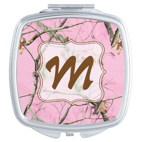 Pink Camo Camouflage Hunt Monogram Compact Mirror