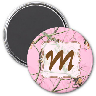 Pink Camo Camouflage Hunt Monogram Initial Magnet