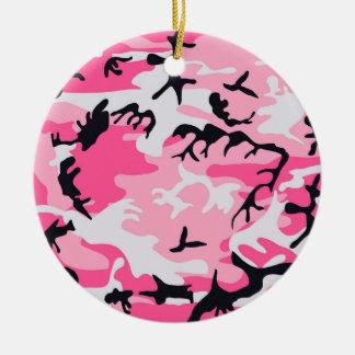 Pink Camo Camouflage Pattern Round Ceramic Ornament