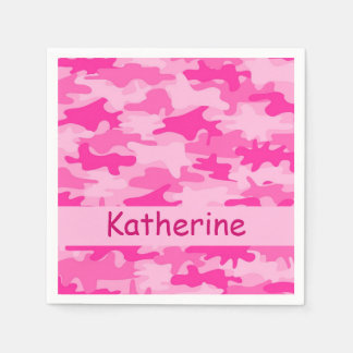 Pink Camo Camouflage Personalized Name Party Paper Napkin